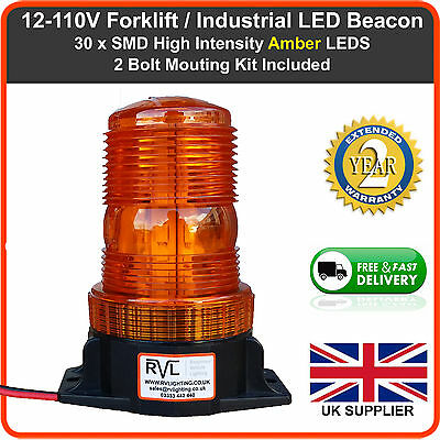 Heavy Duty High Profile LED Emergency Recovery Flashing Amber Beacon 12-110vdc
