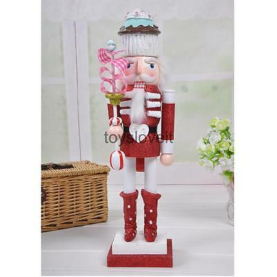 Nutcracker Man in Cake Hat Wooden Statue Home Holiday Ornaments 38cm