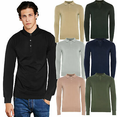 Brave Soul Placket Mens Polo Shirt Long Sleeve Cotton Pique Knit Collared Jumper