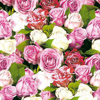 20 Ambiente 3 Ply Paper Napkins Serviettes Roses Pink Cream Floral Party Wedding