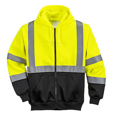 Portwest Two-Tone Hi Vis Yellow Zipped Hoodie High Visibility Jacket Work B315