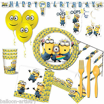 MINIONS Children's Birthday DELUXE Party Pack Kit Set for 16 Guests Decorations