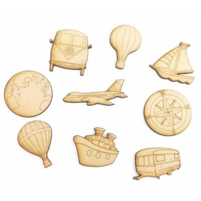 Laser Cut Travel Themed Pack of 9 Wooden Craft Shapes - D120