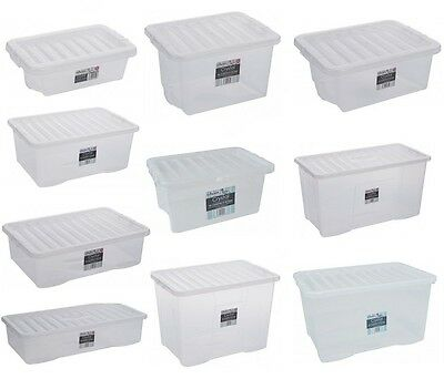 Clear Plastic Storage Box Boxes With Lids Home Office Stackable British Made