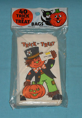vintage HALLOWEEN TRICK OR TREAT BAGS MISP new/sealed scarecrow Two Guys