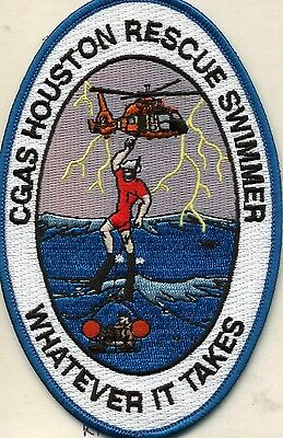 """USCG Coast Guard Patch - Air Station Houston Swimmer, TX (3.5"""" x 5.5"""") (fire)"""