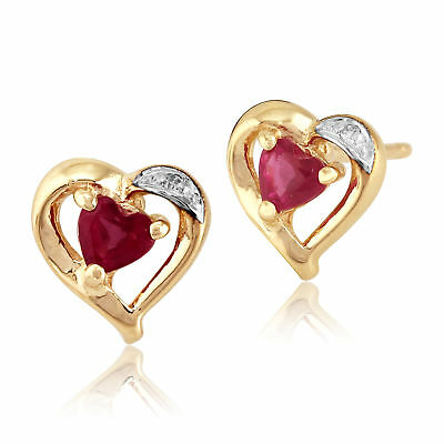 9ct Yellow Gold 0.25ct Natural Ruby & Diamond Heart Stud Earrings