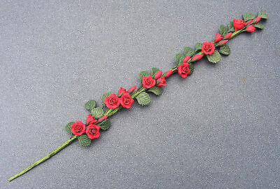 1:12 Scale Strip Of Red Roses Dolls House Miniature Flower Garden Accessories