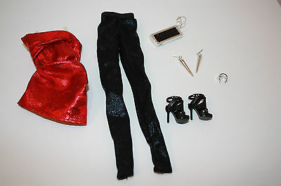 Barbie The Look City Shine Red/Black Outfit Fit Model Muse