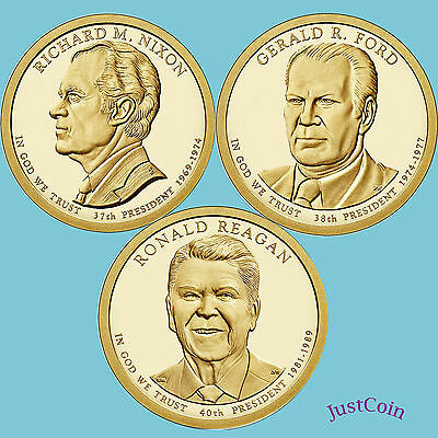 2016-P Nixon Ford Reagan Presidential Golden Dollars 3 Coins Set Uncirculated