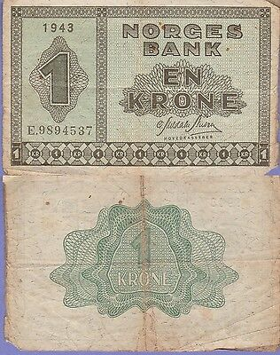 Norway 1 Krone Banknote 1943 Very Good Condition Cat#15-A-4537
