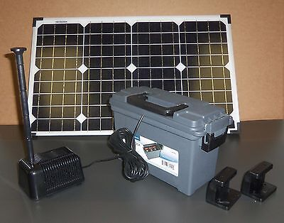 40W Solar Panel Powered Water Fountain Pump W Battery Back-Up Power Day &  Night