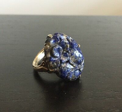 Fine Old Antique Chinese Sterling Silver Blue Lapis Lazuli Stone Art Deco Ring