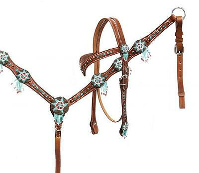 SHOWMAN Headstall and Breast Collar Set with Beaded Dream Catchers! HORSE TACK!