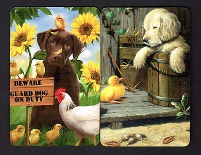 Swap Cards - Cute Puppies & Chickens x 2 (BLANK BACKS)