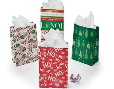 12 Christmas Theme Paper Party or Treat Bags | Gift Wrap Supplies