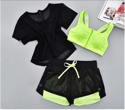 SALE! 3pcs/set Women Breathable Tops+Shorts+Vest Fitness Running Yoga Gym Sports