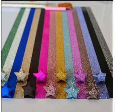 ORIGAMI GLITTER LUCKY STAR PAPER (100 STRIPS, 10 Colors Combo)