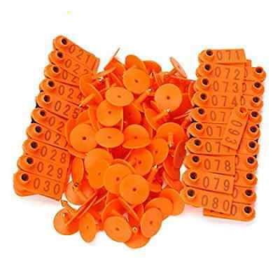 BQLZR Orange 1-100 Number Plastic Livestock Ear Tag Animal Tag for Goat Sheep Pi