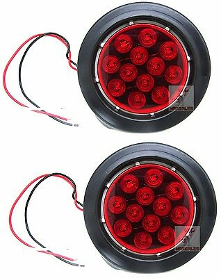 """(Qty-2) Red 12 LED 4"""" Round Truck Trailer Brake Stop Turn Tail Lights Set"""