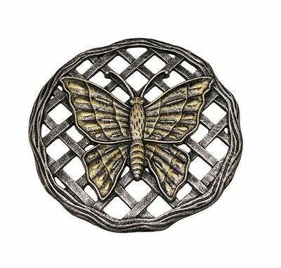 New 12 in. x 12 in. Circular Butterfly Aluminum Step Stone in Antique Pewter