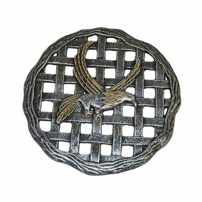 New 12 in. x 12 in. Circular Eagle Antique Pewter Aluminum Garden Step Stone