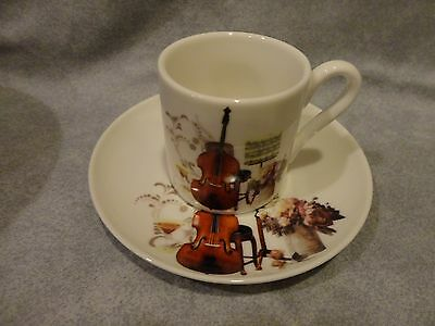 Violin Cello String Instrument Expresso Mug With Saucer And Gift Box