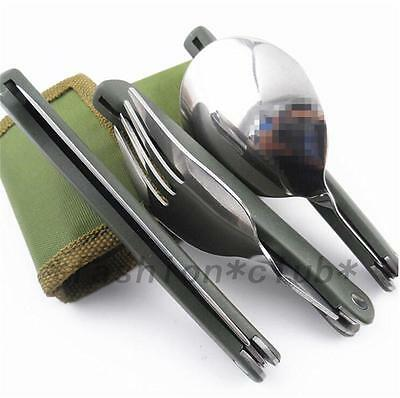 3in1 Outdoor BBQ Travel Camping Pocket Folding Fork Spoon Utensils Cutlery