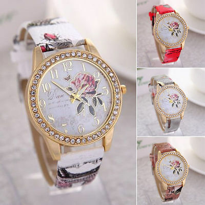 Fashion Rose Flower Women Girl Diamond Leather Bracelet Quartz Wrist Watch UK