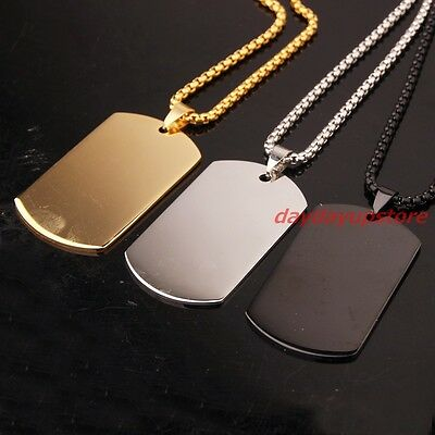 Charming Stainless Steel Silver Gold Black Jewelry Mens Dog Tag Pendant Necklace