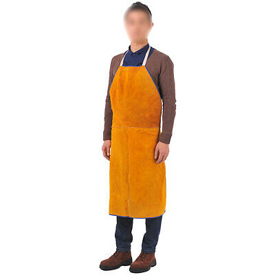 Leather Welding Apron+ Hat Protective Patchwork Clothing Apparel Suit for Welder