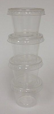 Crystalware Disposable Plastic Portion Cups with Lids, 100 Sets 1 oz. Clear