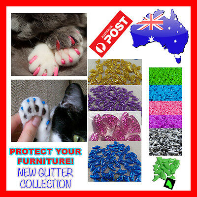 Soft cat claw caps 20piece + glue AU seller Fast FREE Shipping *NEW GLITTER*