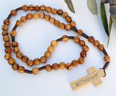 Holy Land ROSARY Round Olive Wood Beads, Jerusalem Wooden Cross Prayer Necklace