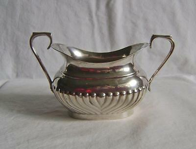 Vintage Silver Plated Sugar Bowl Oval Gadrooned style with 2 handles C.1920 a/f