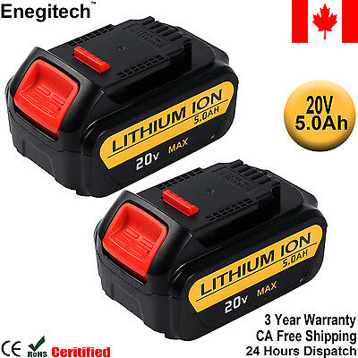 CA 2 Pack 20V 5.0Ah Lithium Battery for Dewalt Replacement DCB205 DCB204 DCB203