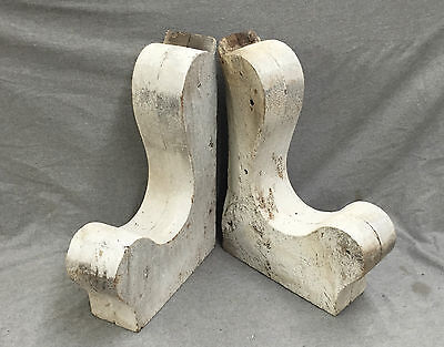 Antique Pair Wood Corbels Shabby Old Home Cottage Garden Chic Vtg 1391-16