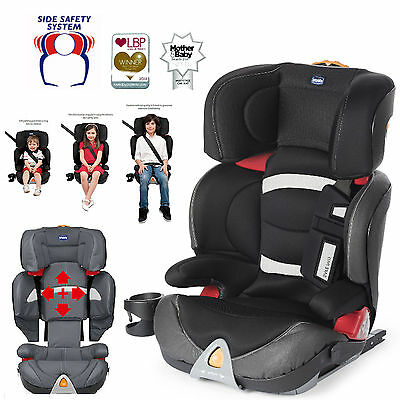 New Chicco Black Oasys Group 2/3 Fixplus Isofix Carseat Reclining Childs Booster