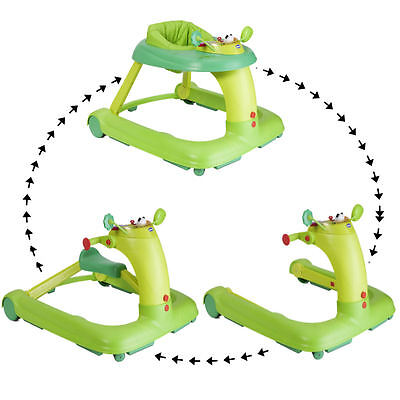 New Chicco Green 123 Height Adjustable Musical Baby Walker Play Tray