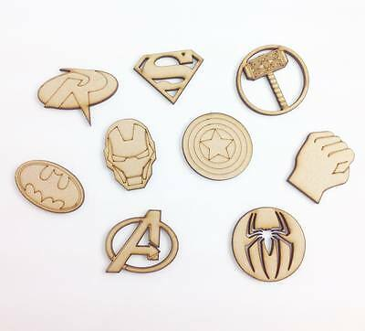 Laser Cut Superhero Themed Pack of 9 Wooden Craft Shapes - C69