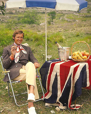 Roger Moore Enjoying Cigar On The Set Of The Persuaders Rare Photo