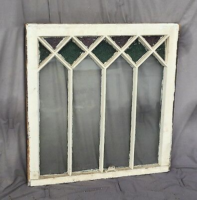Antique Stained Glass Window Shabby Cottage Chic Vtg Old Textured 1396-16