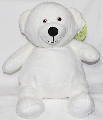 EB Embroider Bear White 16 Inch Embroidery Stuffed Animal