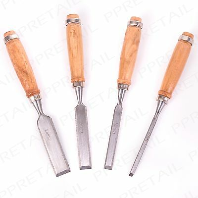 4Pc WOODEN HANDLE CHISEL SET Professional Carpentry/Carving Woodwork Hand Tool