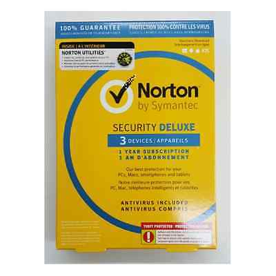 NORTON SECURITY DELUXE  1 Year 3 Devices + Utilities 3 PCs, Sealed Retail Box