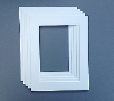 10 X 8 Inch Ice White Picture Mounts to fit 8 x 6 Photo. Pack Of 5