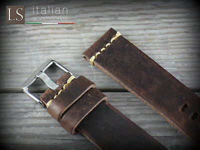 Cinturino in Pelle CUOIO VINTAGE LARGE 22 mm Watch Strap Band D. Brown Marrone