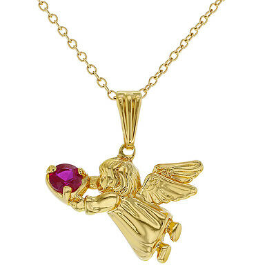 """18k Gold Plated Guardian Angel Heart Hot Pink CZ Pendant Baby Girl Kids 16"""""""