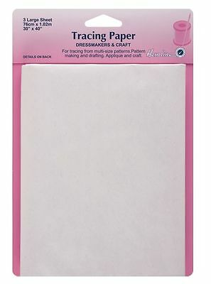 Hemline Dressmakers Craft Tracing Paper Sewing Pattern 3 Large White Sheets H750