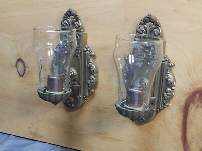 Vtg Matched Sconce Pair Riddle Wall Light Fixtures Glass Chimney Shades 1413-16